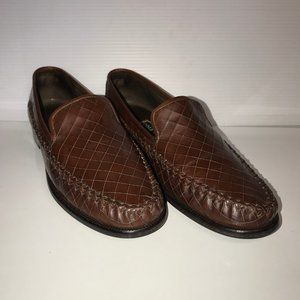 Cole Haan brown leather crosshatch pattern loafers